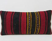 12x24 red kilim pillow black rustic throw pillow floral pillow cover large decorative pillow modern throw pillow kilim pillow lumbar 26568