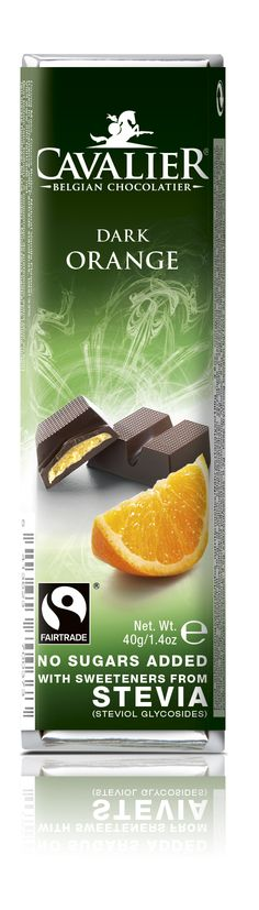 Bar with sweeteners from Stevia, dark chocolate with orange filling. Cavalier the pioneer in no sugars added chocolate.