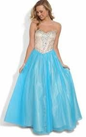 silver and blue prom dress