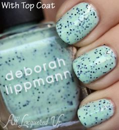 YES. Deborah Lippmann Rockin Robin speckled nail polish swatch with top coat from the Stacatto collection