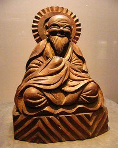 MOKUJIKI - autoportrait - 18ème siècle. Au début des années 1920, Yanagi SOETSU découvre par hasard les œuvres d'un sculpteur tombé dans l'oubli : Mokujiki (1718-1810). Il va dès lors fortement contribuer à sa reconnaissance