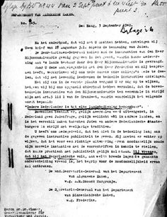Holland, September 1940, A letter by the government expressing their objection to the actions being taken against the Jews.