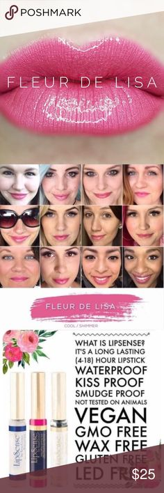 NWT. Fleur De Lisa LipSense 💄Brand new, sealed liquid lipcolor. Lipsense by Senegence.  💋Kiss Proof, Smudge Proof, Long Lasting Lipcolor (Lasts 4-18 hours!) Try it! You won't be disappointed.  💕First time? Get a starter kit (color, gloss, & oops remover). Colors need to be worn w/a gloss for maximum effectiveness. ✅Interested in being a distributor? $55 to join! No monthly min, 50% off products for you 1st 30 Days! ✅Want more info? Comment below! LipSense Makeup Lipstick