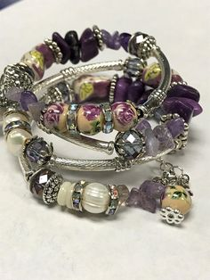 Memory Wire Bracelet with Ceramic Owls Chinese Marble Beads