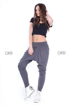 Grafitové dámske tepláky háremky Harem Pants, Hair Beauty, Sweatpants, Crop Tops, Fitness, Outfits, Women, Fashion, Tunic