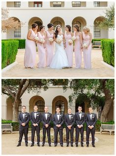 Bridesmaids are cheerful in one shoulder blush pink dresses and the groomsmen look sharp in their crisp black tux. Wedding Party Rentals: Posh Peony Floral and Event Design.