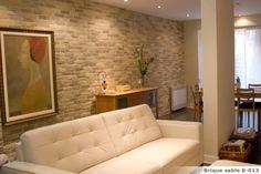 BRIQUE SABLE Pierre Decorative, Sofa, Couch, House Design, Furniture, Home Decor, Interior Brick Walls, Stones, Home Ideas