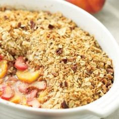 Peach, Rhubarb & Ginger Crisp Recipe from Eating Well; I made it with peaches and blueberries - really good!