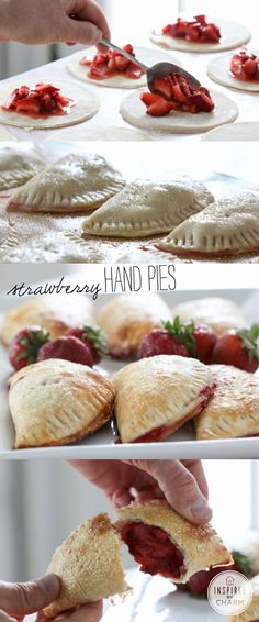 potluck dessert recipes, german desserts recipes, chilean desserts recipes - Strawberry Hand Pies // so easy & luscious for desserts, gifts, brunch and special lunch box treats Pie Dessert, Dessert Recipes, Potluck Desserts, Fancy Desserts, Picnic Recipes, Picnic Ideas, Thanksgiving Desserts, Keto Desserts, Plated Desserts