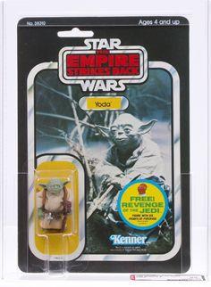 Vintage Kenner Star Wars: The Empire Strikes Back, Yoda action figure, on a 48 figure cardback