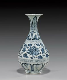 YUAN DYNASTY PORCELAIN YUHU VASE Chinese 14th Century Yuan Dynasty, blue and white porcelain yuhuchunping vase; the body with design of lotus blossoms and scrolling foliage, flanked above and below by foliate lappets separated by scrolling bands; the neck further decorated with foliage; H: 11 1/4""