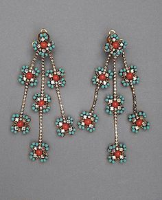 William de Lillo earrings - 1967 - Glass faux coral and turquoise