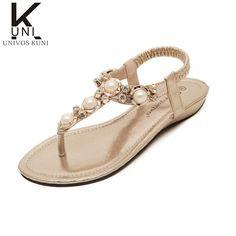 L@YC Women Slip Sandals 2017 Summer Rhinestone Flat Beach Leisure Beach Wild Student Shoes