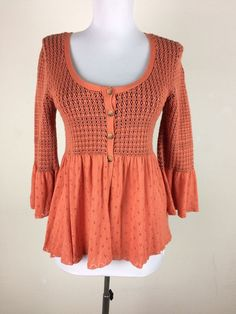 Free People Blouse Size Small Orange Black Knit Button Bell Sleeves Boho Sweater #FreePeople #Cardigan