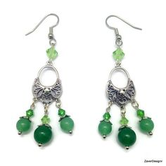 Green  Aventurine Gemstone and Peridot Swarovski by ZaverDesigns