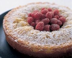 Lemon ricotta cake with fresh raspberries! Thank you Nigella