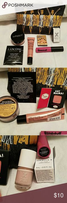 Ipsy samples with bag Bellapierre -  Mineral blush in Autumn glow  The Balm -  Hot Mama shadow/blush NYX -  liquid illuminator in color gleam Be a Bombshell liquid lipstick in color famos Formula X nail Polish in color dollface Lancome transfer free foundation in color bisque 1 Ipsy make up bag Makeup