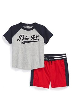Ralph Lauren Baseball T-Shirt & Shorts (Baby Boys) available at #Nordstrom