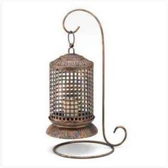 Burnished Copper Lattice Candle Lantern on Stand