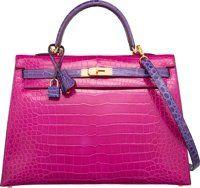 Hermes 35cm Shiny Rose Shocking & Ultraviolet Porosus Crocodile Sellier Kelly Bag with Gold Hardware R Squar