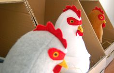 So cute!  Chickens that lay eggs and baby chicks.  can buy the pattern for twelve bucks.  ikat bag: Chicken