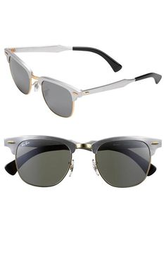 Classic, Ray-Ban 'Clubmaster' Silver Sunglasses