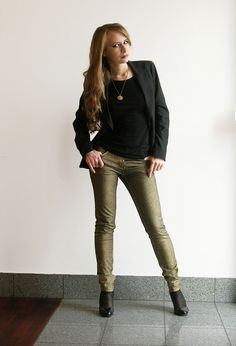 Golden pants #outfit , Zara in Blazers, H in T Shirts, H in Pants