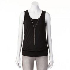 Ab studio black top Size large, top comes with detachable necklace, scooped neckline, banded hem. Very flattering top worn once. Tops Tank Tops