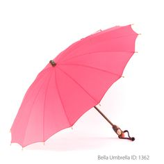 Umbrella ID 1362 | Deep Pink Umbrella | Carved Flower Handle | Bella Umbrella | Vintage Umbrella Rentals