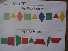 T's First Grade Class: Patterns Patterning Kindergarten, Kindergarten Activities, Teaching Math, Preschool, 1st Grade Math, First Grade, Grade 1, Math Patterns, Pattern Grading