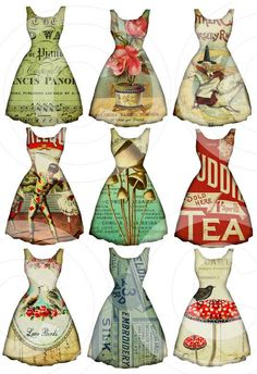 paper dresses, digital collage sheet from LandofEnchantment (etsy) Vintage Tags, Vintage Paper, Printable Vintage, Art Altéré, Paper Art, Paper Crafts, Etiquette Vintage, Paper Supplies, Illustration