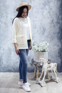 Achers ivory cotton cardigan with wool pockets