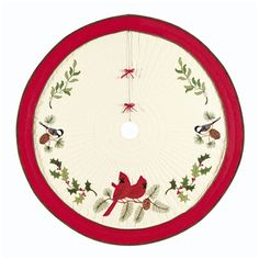 Holiday Song Birds Quilted Tree Skirt