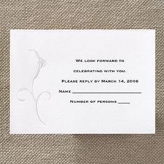 Calla Lily Embrace - Respond Card and Envelope     http://mediaplus.carlsoncraft.com/Weddings/Respond-Cards/3124-BSE1507-Calla-Lily-Embrace--Respond-Card-and-Envelope.pro?parentProductId=72396