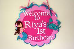 Glittery Mermaid Door Sign Birthday Wall Decor. $14.00, via Etsy.