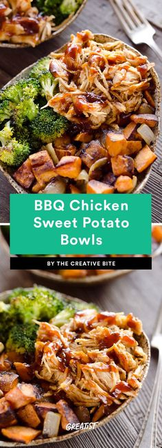 BBQ Chicken Sweet Potato Bowls Ten minutes of prep and your work here is done. Step one: Roast some taters and broccoli. Step two: Grab your favorite barbecue sauce (Annie's makes a good one) and brush it on chicken breasts, then add to the sheet pan to bake. Step three: Shred and serve! And pack away the leftovers, of course.