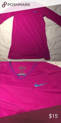 Nike Pro Combat Fitted Long Sleeve Barely Worn/ Dri-Fit/ Magenta with Blue Logo in Front Nike Tops