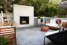 Our backyard underwent a major transformation this summer. We added a sprawling deck to our backyard and furnishings and finally, built an outdoor fireplace as the finishing touch. As a reminder, just a few months ago, Outdoor Fireplace Plans, Outside Fireplace, Outdoor Fireplace Designs, Backyard Fireplace, Diy Fireplace, Modern Fireplace, Backyard Patio, Outdoor Fireplaces, Deck With Fireplace