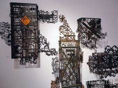 Cal Lane carves intricate shapes out of used industrial metal objects. Inhabitat's Awesome Eco Art Picks from the SCOPE New York Art . Art Addiction, Collage Making, New York Art, Metal Artwork, Art Fair, Installation Art, Decoration, Les Oeuvres, Lace Detail