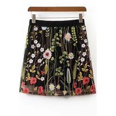 Black High Waist Floral Embroidery Mesh A Line Skirt (520 MXN) ❤ liked on Polyvore featuring skirts, black, high-waist skirt, a-line skirts, high waisted skirt, high waisted a line skirt and high rise skirts