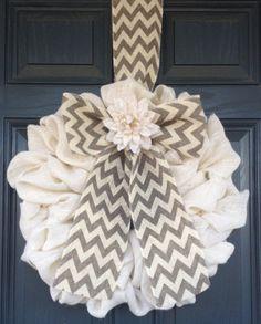 Spring CLASSIC Burlap Wreath Grey Taupe by BurlapandChevron, $85.00