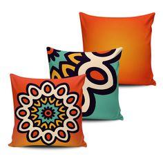 KIT com 3 Almofadas Decorativas Mandala 45x45cm - ALMAND007 - Pano e Arte