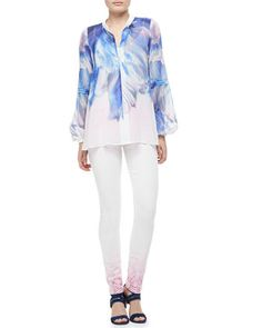 Watery Printed Silk Blouse & Python-Ombre Skinny Jeans by Just Cavalli at Neiman Marcus.