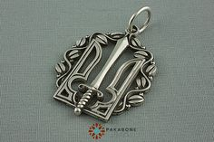PAKABONE Stylish Accessories UKRAINIAN TRIDENT TRYZUB Pendant. Silver weight 6.5 g. Size 3,4 x 2,5 cm. The pendant can accept a necklace up to 1/5 in