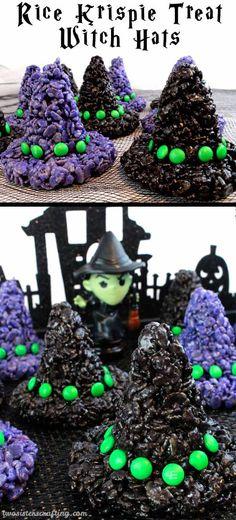 Rice Krispie Treat Witch Hats | 21 Spooky Halloween Dessert Ideas