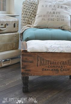 DIY a Fixer Upper style footstool from a vintage wooden crate.