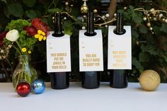 HOLIDAY GOLD COLLECTION  Our Holiday Gold Collection of Wine & Spirit Tags are printed on a vintage press. You never keep those wine bags anyway so why not knock out a card and bag at once? Three different tags are included in each pack. You Are Really Hard to Shop For, Way More Effective Than Mistletoe, and This Should Put The Jingle In Your Bells. Perfect for your bestie, family, and anyone who could use a festive drink! Bright white carsick with gold foil. Set of three. Packaged with…