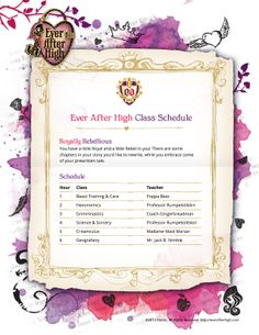 "I toke the ""are you a royal or a rebel"" test on the ever after high website and i'm HALF! Here's my class schedule :D  www.EverAfterHigh.com"