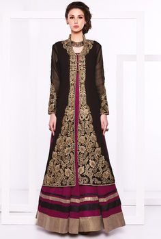 Violet Georgette #Jacket #Style #Anarkali #Suit - Trendy Attire In #Pakistani #Wedding