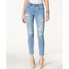 Two by Vince Camuto Ripped Rip Blue Wash Skinny Jeans ($90) ❤ liked on Polyvore featuring jeans, rip blue, white distressed jeans, white ripped jeans, destroyed skinny jeans, distressed jeans and blue skinny jeans